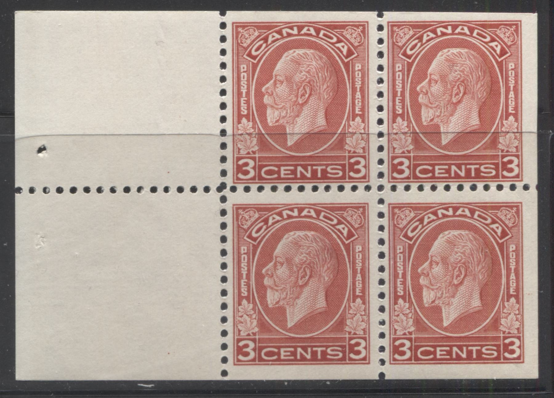 Canada #197d 3c Deep Red, King George V 1932-1935 Medallion Issue, a Fine Mint NH Booklet Pane of 4 + 2 Labels