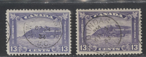 Canada #201, 201i 13c Dull Violet and 13c Reddish Violet, Old Quebec Citadel, 1932-35 Medallion Issue, Two Fine CDS Used Examples