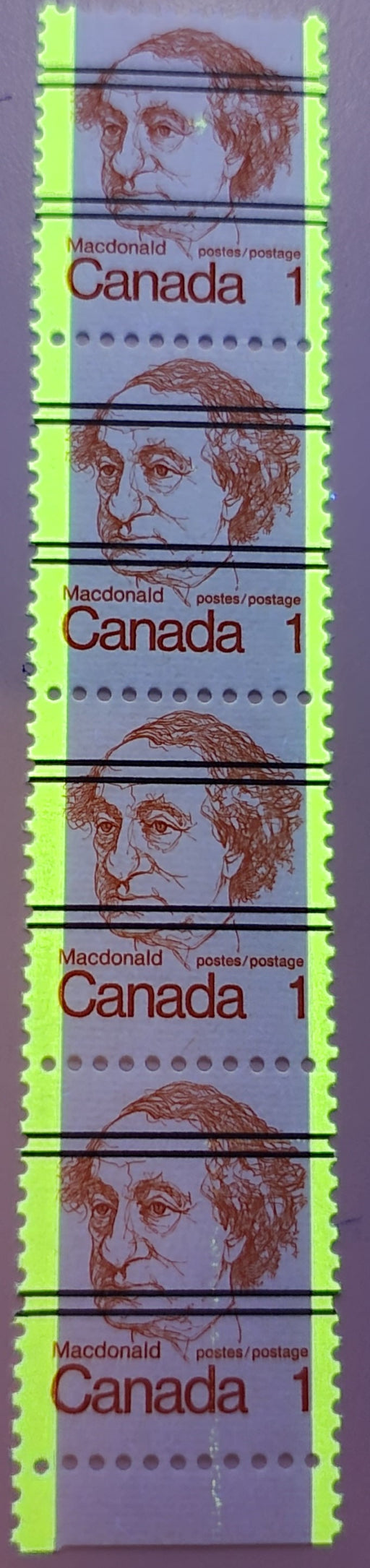 Canada #586xxii (SG#693) 1c Macdonald 1972-1978 Caricature Issue Precancel Horizontal Ribbed Type 1 Tagging Flaws VF-75 NH
