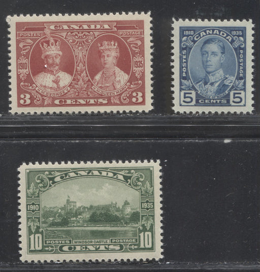 Canada #213-215 3c Carmine-Red -10c Deep Green 1935 Silver Jubilee Issue, VFNH Examples of the Three Middle Values