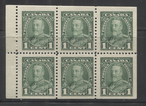 Canada #217b 1c Green King George V Booklet Pane of 6, A Fine NH Example, White Gum, Vertical Wove