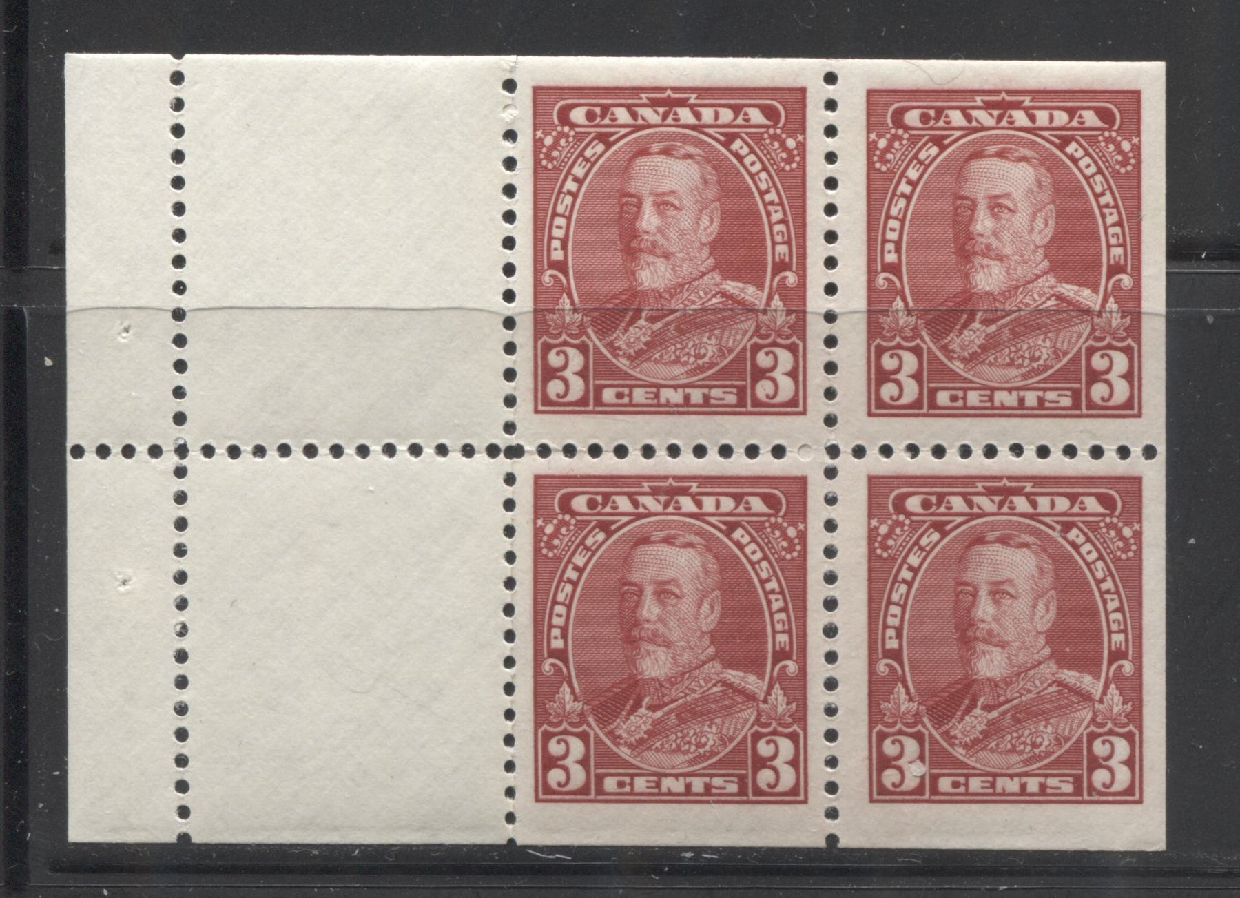 Canada #219a 3c Carmine Red King George V, 1935-1937 Dated Die Issue, Booklet Pane of 4 + 2 Labels, A Fine NH Example, Crackly Cream Gum, Vertical Wove