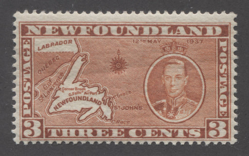 "Newfoundland #234h 3c Orange Brown Newfoundland Map, Die 2, 1937 Long Coronation Issue, A Fine Mint NH Example With Re-Entry in ""NTS"" of Cents, Comb Perf. 13.4"