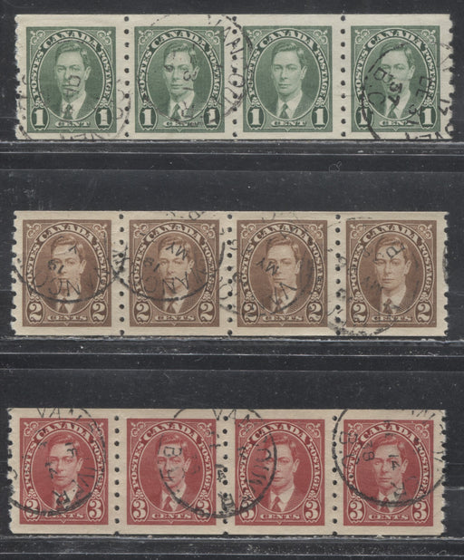 Canada #238i, 239, 240 1c Green - 3c Carmine Red King George VI 1937-1942 Mufti Issue Very Fine CDS Used Coil Strips/Jump Strips
