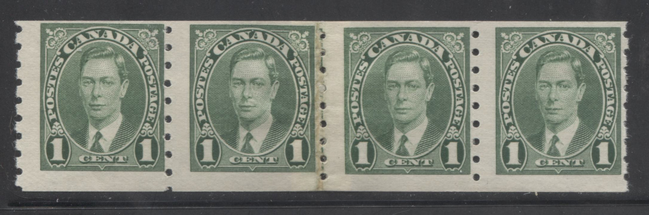 Canada #238i 1c Green King George VI 1937-1942 Mufti Issue, a Fine Mint OG Coil Repair Paste-Up Strip of 4 of the 1942 Printing