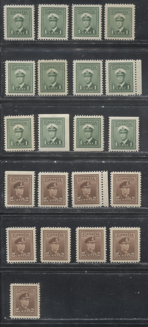 Canada #249, 249as, 250, 250as 1c Green - 2c Brown 1942-1949 War Effort Issue - Specialized Group of 21 VF NH Sheet and Booklet Stamps, Various Papers and Gums