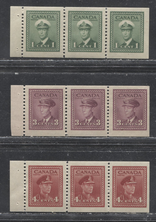Canada #249c/254b 1c-4c Green-Carmine King George VI, 1942-1949 War Issue, Fine and Very Fine LH Booklet Panes