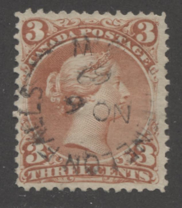 Canada #25 3c Brown Red Queen Victoria, 1868-1897 Large Queen Issue, A VF CDS Used Example, Cancelled November 6, 1869, Duckworth Paper 10