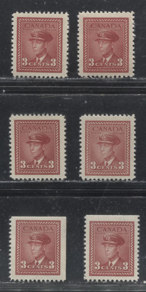 Canada #251, 251as 3c Dark Carmine 1942-1949 War Effort Issue - Specialized Group of 6 VF NH Sheet and Booklet Stamps, Various Papers and Gums