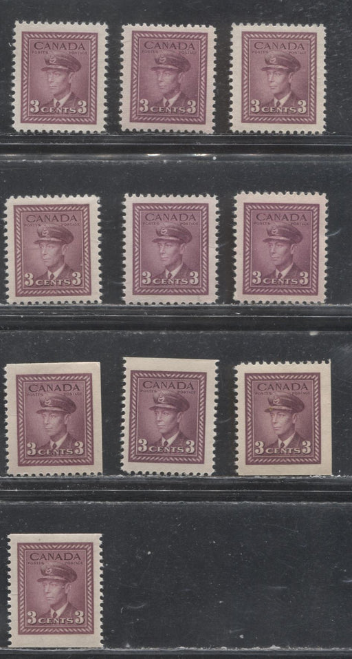 Canada #252, 252as, 252bs 3c Rose Violet 1942-1949 War Effort Issue - Specialized Group of 10 VF NH Sheet and Booklet Stamps, Various Papers and Gums