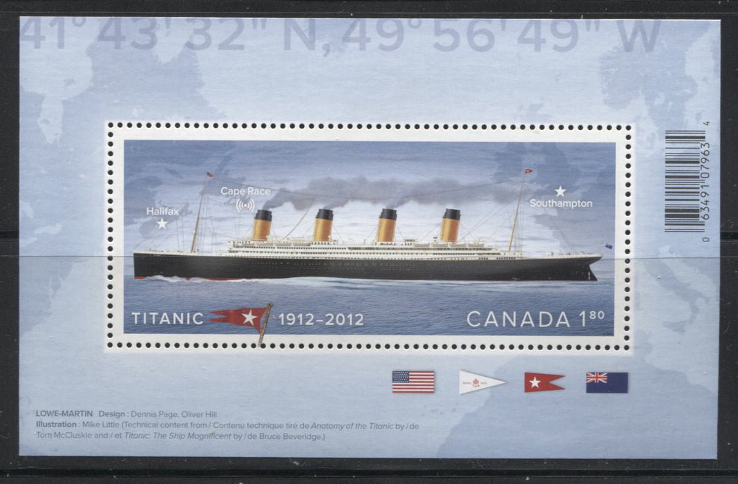 Canada #2535iii $1.80 Multicoloured Titanic, 2012 100th Anniversary of Titanic Sinking, A VFNH Souvenir Sheets Missing the Colour Printing Dots From the LL Corner