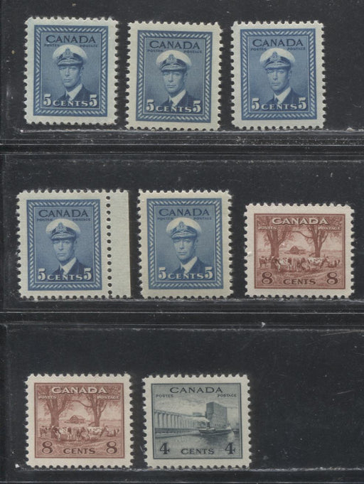 Canada #253, 255-256 4c Greenish Black, 5c Deep Blue And 8c Red Brown 1942-1949 War Effort Issue - Specialized Group of 8 VF NH Stamps, Various Papers and Gums