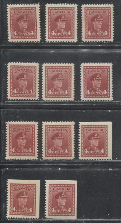 Canada #254, 254as 4c Dark Carmine 1942-1949 War Effort Issue - Specialized Group of 11 VF NH Sheet and Booklet Stamps, Various Papers and Gums