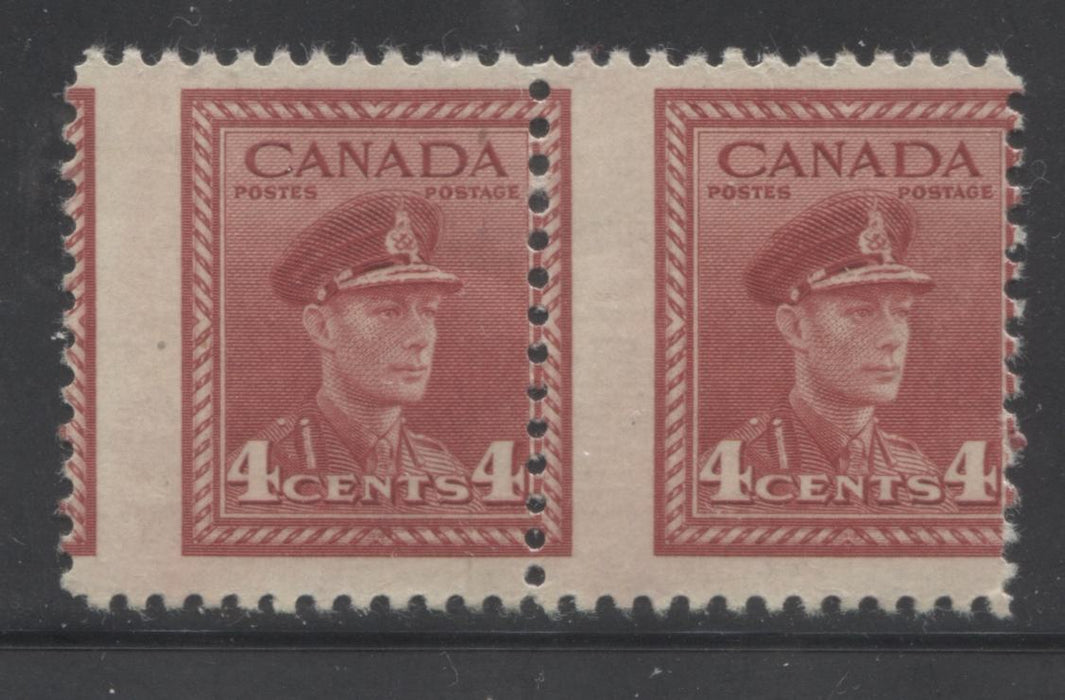 Canada #254 4c Carmine Red King George VI, 1942-1949 War Issue, A Fine OG/NH Pair on Vertical Wove Paper, Showing Dramatic Misperf