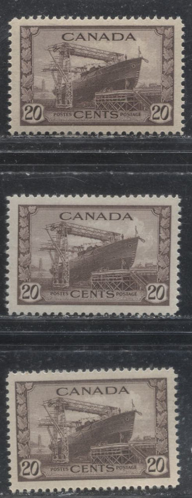 Canada #260 20c Chocolate Corvette 1942-1949 War Effort Issue - Specialized Group of 3 VF NH Stamps, Various Papers and Gums