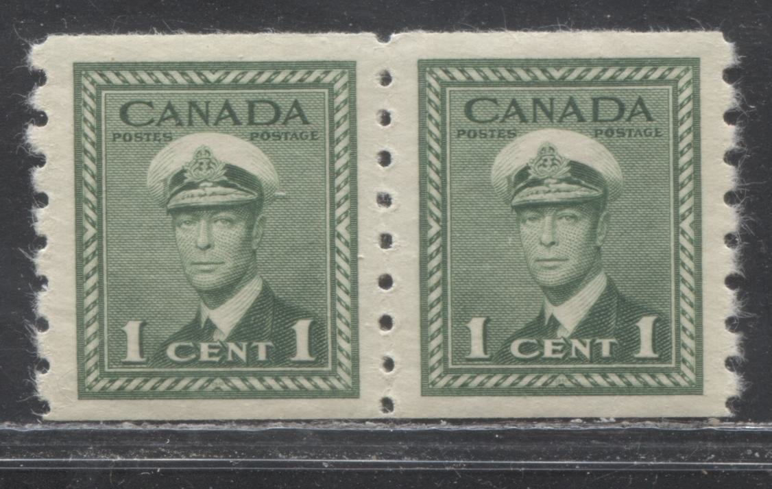 Canada #263 1c Deep Bright Green King George VI in Naval Uniform, 1942-1949 War Issue, Very Fine Mint NH Perf. 8 Coil Strip on Vertical Ribbed Paper With Yelowish Gum