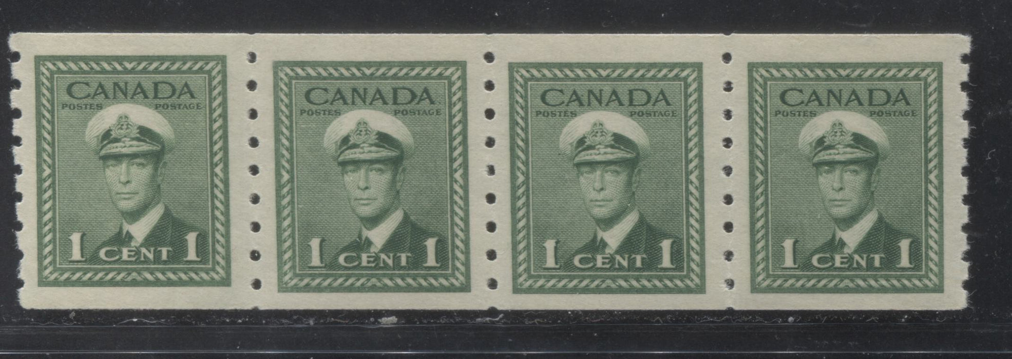 Canada #263i 1943-1948 War Issue - A Lovely VFNH 1c Green Coil Jump Strip on Ribbed Vertical Wove With Smooth Cream Gum