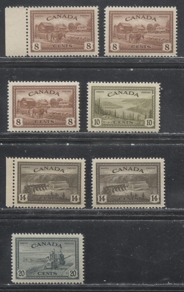 Canada #268-271 8c Red Brown - 20c Greenish Black 1946-1951 Peace Issue - Specialized Lot of 8 VF NH Stamps