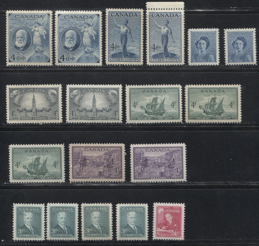 Canada #274/303 1947-1951 Commemoratives, A Super-Specialized Lot of 19 Selected VFNH Stamps - Different Shades and Papers