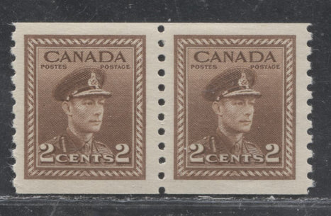 Canada #279 2c Brown King George VI in Army Uniform, 1942-1949 War Issue, Extemely Fine Mint NH Example of the Perf. 9.5 Coil Pair on Vertically Ribbed Paper With Deep Cream Gum