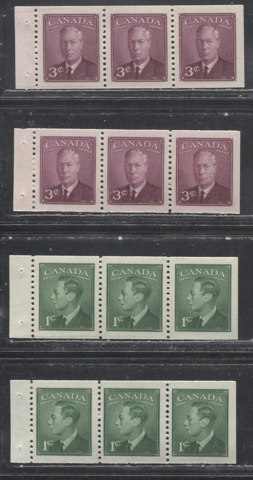 Canada #284a, 286a 1949-1952 1c-3c Postes-Postage Issue, Specialized Group of 4 VFNH Chewing Gum Booklet Panes