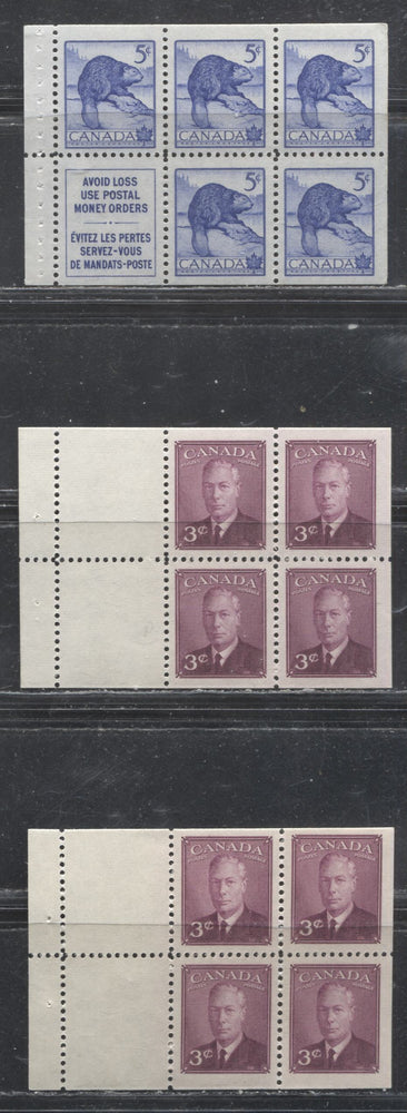 Canada #286b 1949-1952 3c Postes-Postage Issue and 5c Wildlife Issue, Specialized Group of 3 VFNH Booklet Panes
