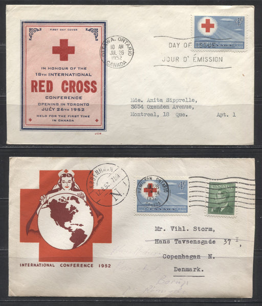 1952 Red Cross Conference - Two First Day Covers, Including one Sent Surface to Denmark
