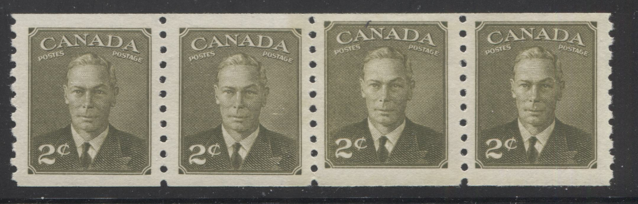Canada #309i 2c Olive Green King George VI, 1949-1952 Postes Postage Revised Issue, A VFOG/NH Mint Coil Jump Strip