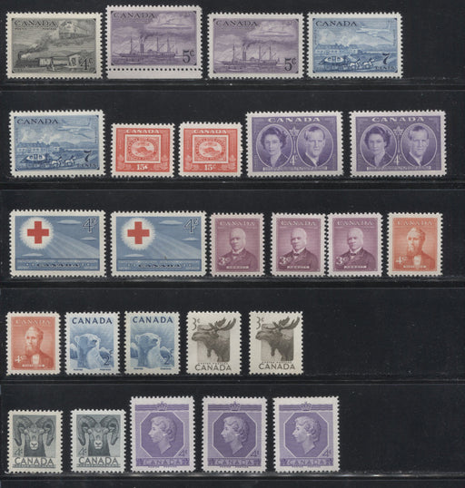 Canada #311/330 1951-1953 Commemoratives, A Super-Specialized Lot of 25 Selected VFNH Stamps - Different Shades