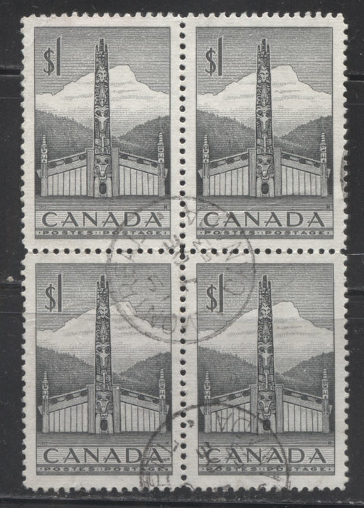Canada #321 $1 Deep Grey Pacific Coast Totem Pole, 1953-1962 Karsh and Wilding Issue, Very Fine CDS Used Block of 4, DF Gr Ribbed Paper, Perf 12