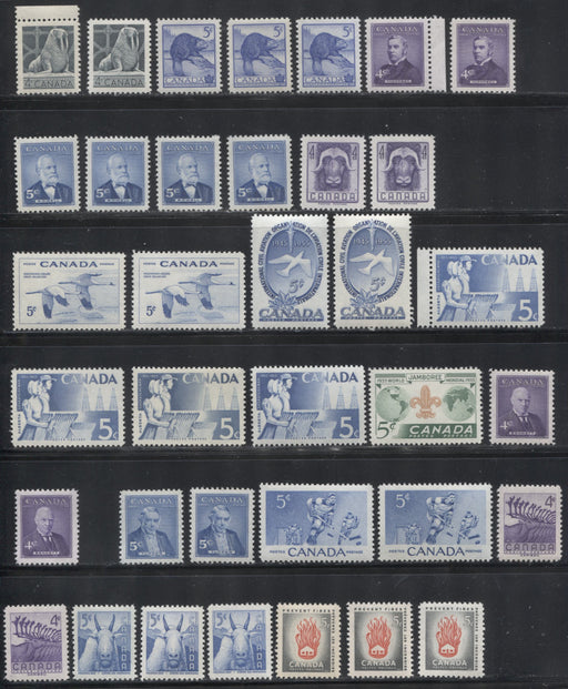 Canada #335-364 1954-1956 Commemoratives, A Super-Specialized Lot of 35 Selected VFNH Stamps - Different Shades and Papers