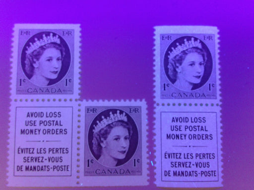 Canada #337as & 337aivs 1c Chocolate Queen Elizabeth II, 1954-1962 Wilding Issue, Two Booklet Singles With Label Attached, One on the Scarce Medium Fluorescent Paper