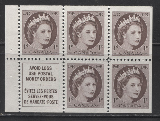 Canada #337aii 1c Chocolate Queen Elizabeth II, 1954-1962 Wilding Issue, a VFNH Booklet Pane of 5 Plus Label, Printed on the Low Fluorescent Ribbed Paper