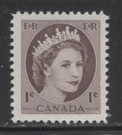 "Canada #337 1c Chocolate Queen Elizabeth II, 1954-1962 Wilding Issue, A VFNH Example on DF Smooth Paper Showing the ""Mole on Cheek"" Variety"
