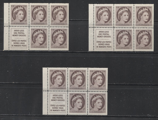 Canada #337a 1c Chocolate Queen Elizabeth II, 1954-1962 Wilding Issue, a Group of 3 VFNH Booklet Panes of 5 Plus Label, Printed on Different Papers, All From 12 mm Staple Booklets
