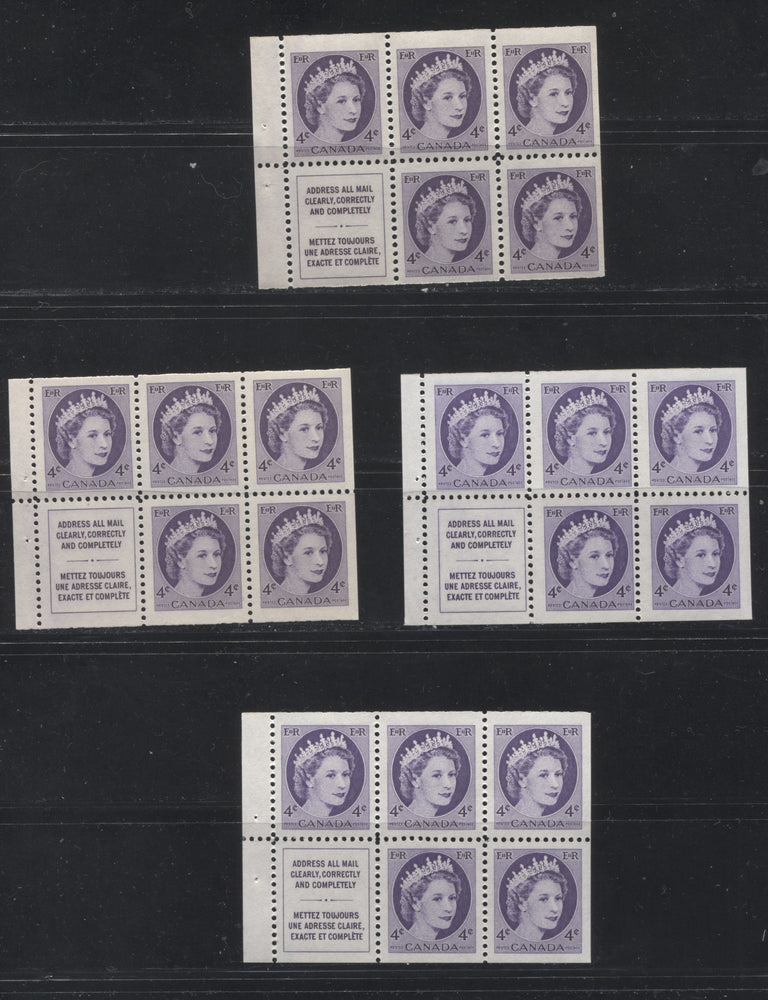 Canada #340a 4c Deep Violet Queen Elizabeth II, 1954-1962 Wilding Issue, a Group of 4 VFNH and FNH Booklet Panes of 6, Printed on Dull and Low Fluorescent Papers