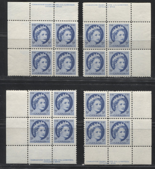 Canada #341i 5c Bright Blue Queen Elizabeth II, 1954-1962 Wilding Issue, A Matched Set Plate 16 Blocks of 4, Various Shades, Papers and Perfs. VFNH