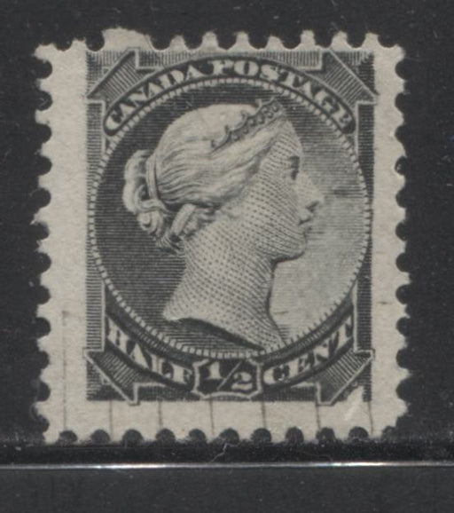 Canada #34i Half Cent Grey Black 1870-1897 Small Queen Issue, Montreal Printing, Perf. 12.1 x 12 on Stout Vertical Wove, Printing Void and Weak Entry, Fine Used