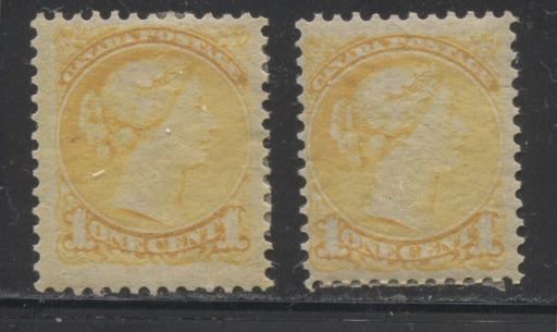 Canada #35 (SG#75) 1c Yellow Small Queen Two Fine OG Examples of the Second Ottawa Printing, Each a Slightly Different Shade, Perf. 12 x 12.25