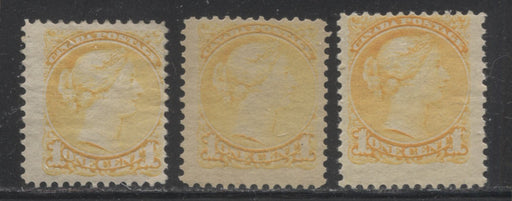 Canada #35 (SG#75) 1c Yellow Small Queen Three Fine OG Examples of the Second Ottawa Printing, Each a Different Shade, Various Perfs.