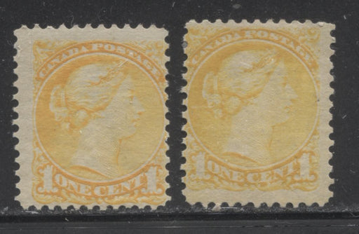 Canada #35 (SG#75) 1c Lemon Yellow Small Queen Two Fine OG Examples of the Second Ottawa Printing, Each a Slightly Different Shade, Perf. 12 x 12.25