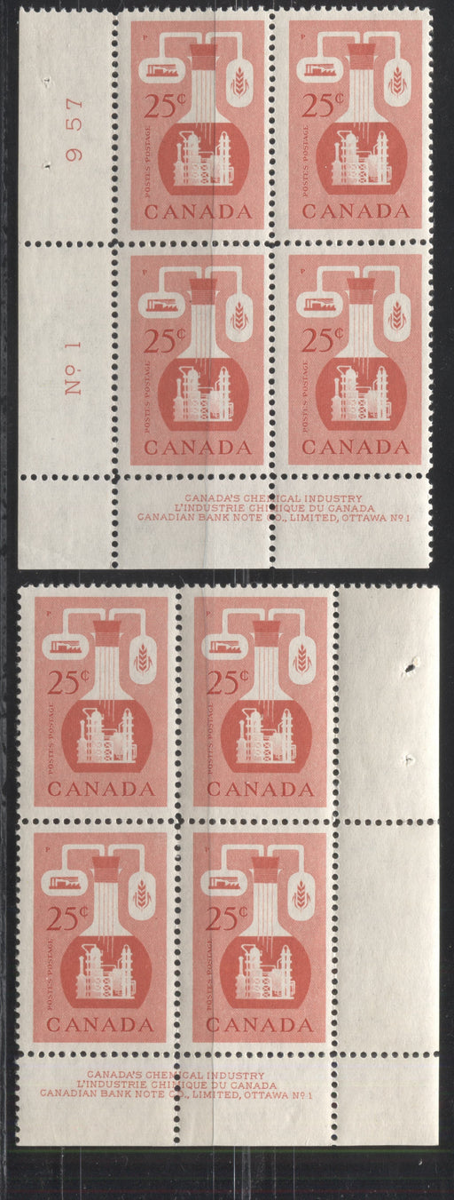 Canada #363 25c Light Vermilion Chemical Industry, 1954-67 Wilding and Cameo Issue, a FOG Lower Left and Lower Right Plate 1 Blocks on Dull Fluorescent Light Violet Smooth Paper, Perf. 12