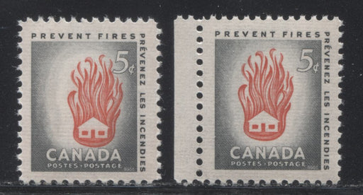Canada #364 5c Grey and Red House On Fire, 1956 Fire Prevention Week, A VFNH Example With Dramatic Shift of the Vignette