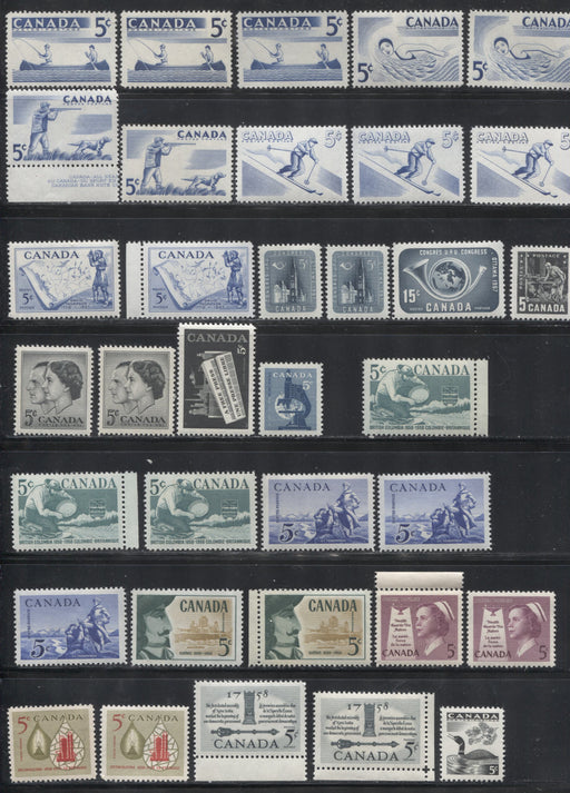 Canada #365-382 1957-1958 Commemoratives, A Super-Specialized Lot of 35 Selected VFNH Stamps - Different Shades and Papers