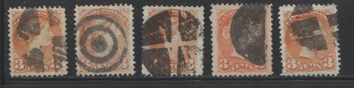 Canada #37, 41 3c Orange Red & Vermillion 1870-1897 Small Queen Issue, Cancel Lot Consisting of 5 Very Fine Perf. 12 Examples With Different Fancy Cancels