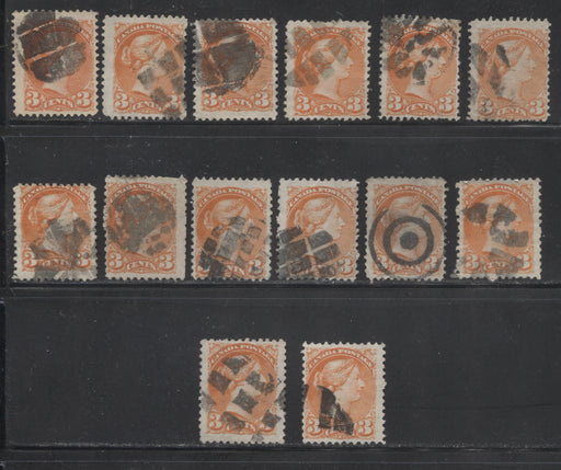 Canada #37 3c Orange Red 1870-1897 Small Queen Issue, Cancel Lot Consisting of 14 Examples With Different Fancy Cancels, Mainly Fine