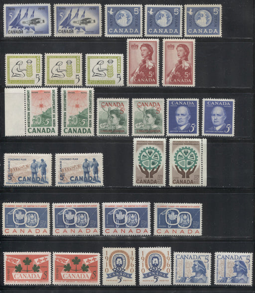 Canada #387-395 1959-1961 Commemoratives, A Super-Specialized Lot of 30 Selected VFNH Stamps - Different Shades and Papers