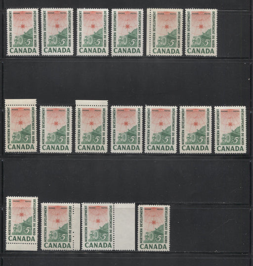Canada #391 5c Green and Bright Red 1961 Northern Development Issue, Specialized Lot of 17 Stamps, Covering a Range of Papers, Shades and Perforations, All VFNH