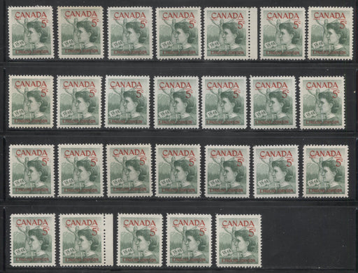 Canada #392 5c Green and Carmine Red 1961 Emily Pauline Johnson Issue, Specialized Lot of 25 Stamps, Covering a Range of Papers, Perforations, and Gums, All VFNH