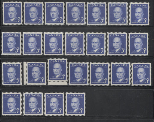 Canada #393 5c Deep Ultramarine 1961 Arthur Meighen Issue, Specialized Lot of 25 Stamps, Covering a Range of Shades, Papers, Perforations, and Gums, All VFNH